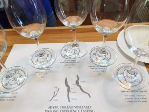 This nifty tasting sheet identifies all the Silver Thread rieslings and their respective vineyard sites in the Finger Lakes
